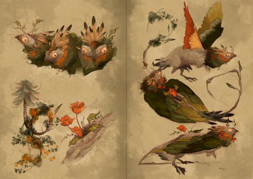 Scientific illustration coniferas creature
