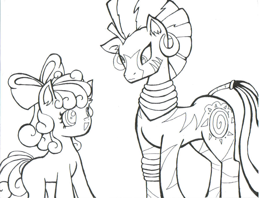 My Little Pony Zecora Coloring Pages : Zecora and applebloom by puppetstringz on deviantart