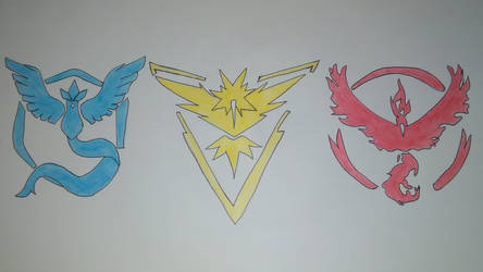 Pokemon GO Pencil Drawing of Teams by AnimeMonsterExorist