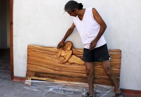 Ayhan Tomak - design: wooden bed - detail by ayhantomak