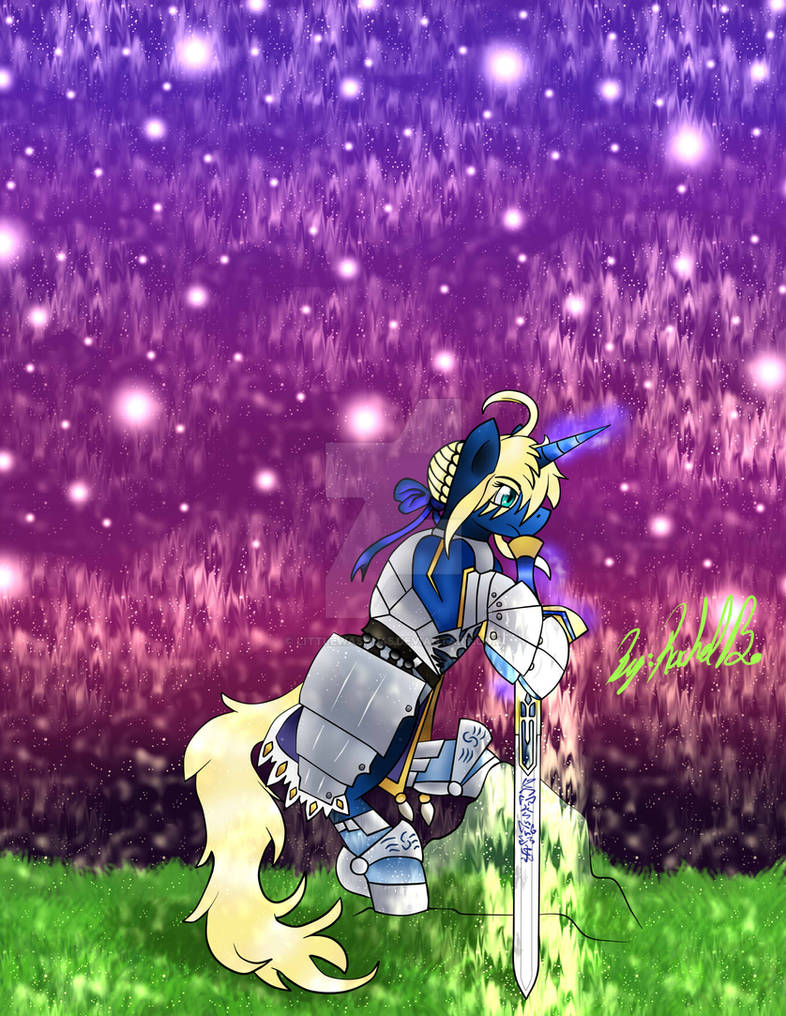 Saber As A Pony Holding her Excalibur Sword