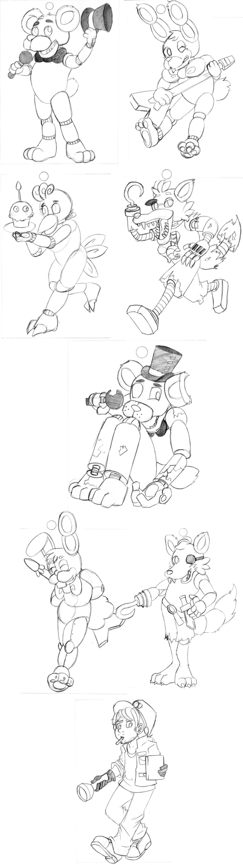 Sketchup 10-24-2014 Freddy and Friends by DeviousVampire