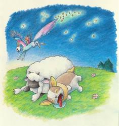 The Lamb and the Corgi by LaSpliten