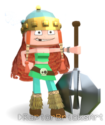 Low Poly Barbara The Barbarian - Rayman fanart by RaptorBricks
