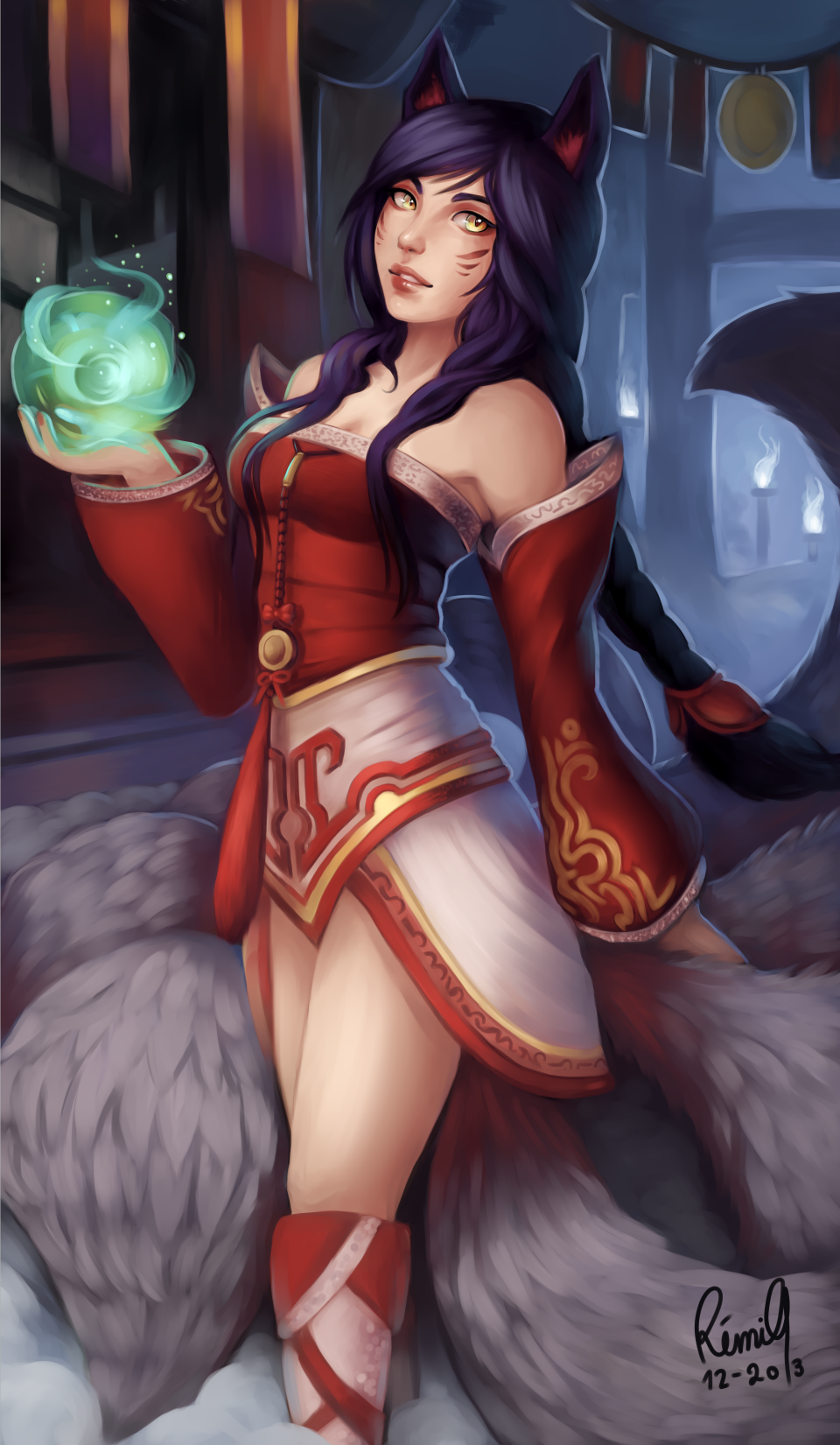 Commission #2 : League of Legends Ahri by acetea-san