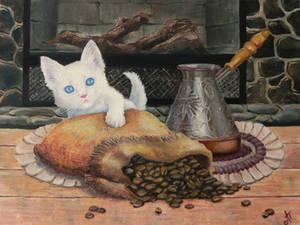 Coffee cat. Macchiato by LeafArtAnna