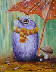 Owl rain by LeafArtAnna