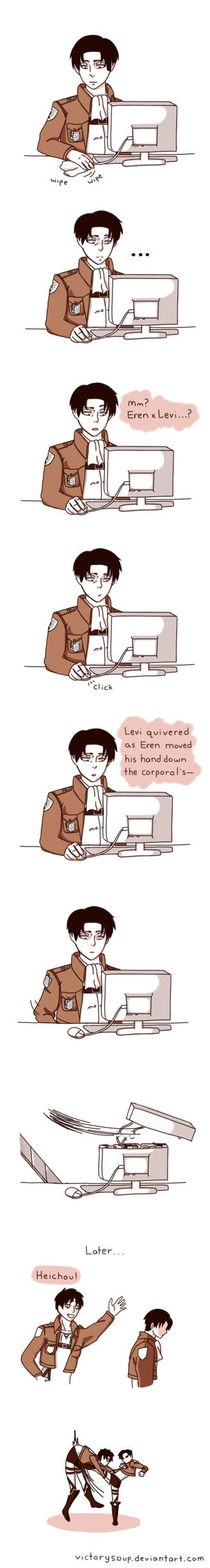 Levi Discovers Yaoi by VictorySoup