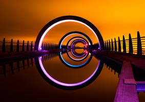 The Falkirk Wheel at Night by kharashov
