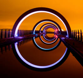 The Falkirk Wheel glows