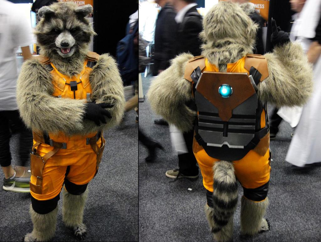 Rocket Raccoon front and back by BlackRabbitArtisan