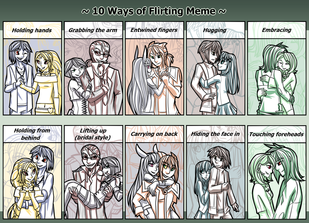 flirting meme deviantart [best when full viewed] ----------------------------------remember that one time i mentioned that i wouldn't spend 20+ hours on a meme ever again yeah me neither orz i actually wanted to try this flirting meme for a while, once i begin to actually have pairings to draw them for and b/c i though it'd be good.