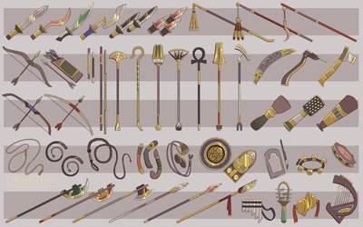DEITIES Notes Artdump -- [8] Divine Weapons by TeniCola