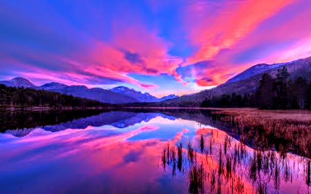 Beautiful Purple Sunset Over Lake And Mountains By ROGUE RATTLESNAKE