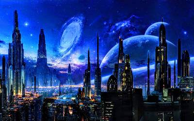 Futuristic city and blue space scenery beyond