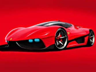 Red Ferrari EGO Concept - Front view by ROGUE-RATTLESNAKE