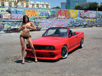 Bikini Girl posing with BMW M3 E30 Convertible 2 by ROGUE-RATTLESNAKE