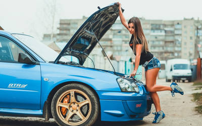 hot Girl Checking out Subaru Impreza by ROGUE-RATTLESNAKE