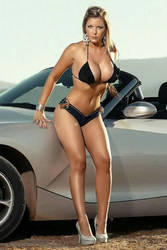 Hot Bikini Girl Posing next to Car by ROGUE-RATTLESNAKE