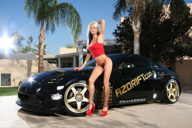 Hot Bikini Girl in red next to Nissan 350Z by ROGUE-RATTLESNAKE