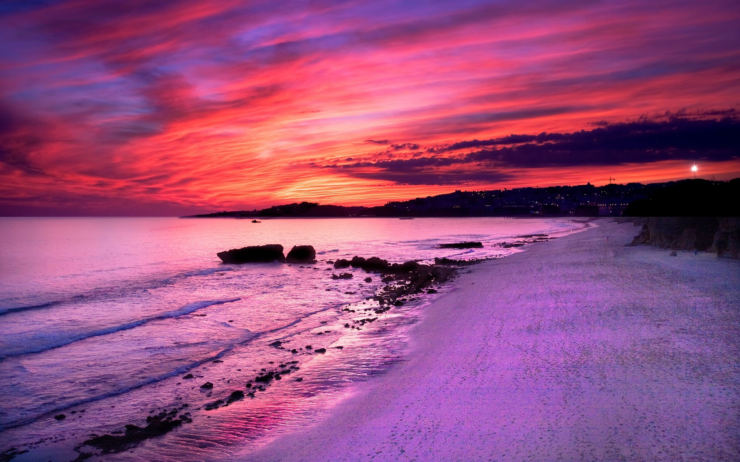 Colorful Beach Sunset at Flakstad beach.