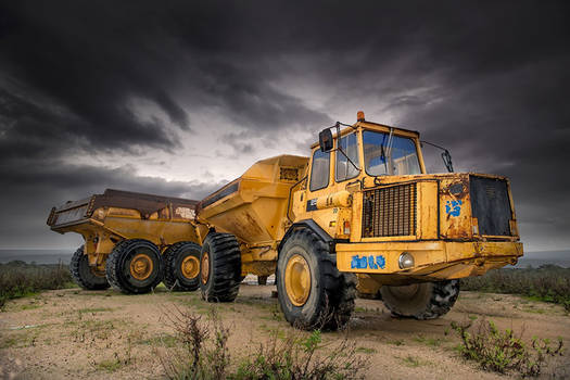 Heavy Old Construction Dump Trucks
