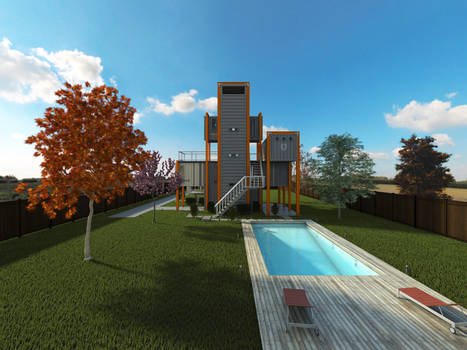Shipping Container Home (Rear View)