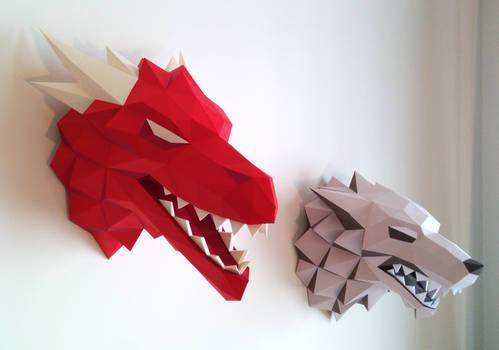 Targaryen Dragon x Stark Papercraft