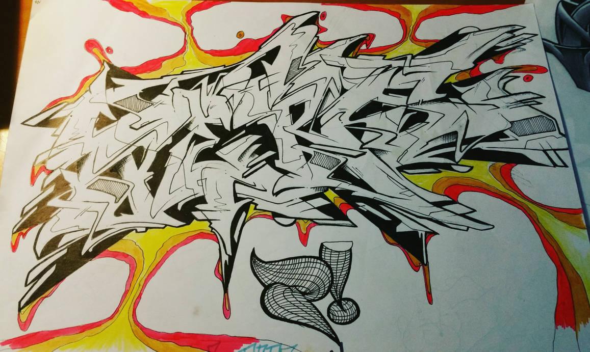 Graffiti whiteblackfire pen paper 2015 by persgraffiti
