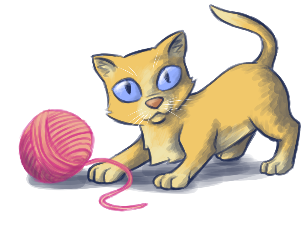 Kitten with pink ball of yarn by Blondbraid