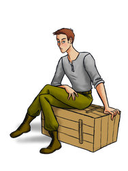 Young man sitting on a crate by Blondbraid