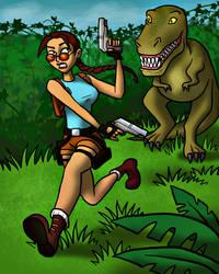 Lara Croft vs T-rex by Blondbraid