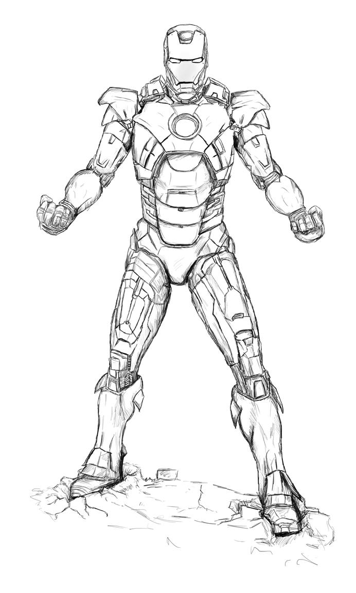 uncoloured iron man mark 7 suit from avengers by billythedalek