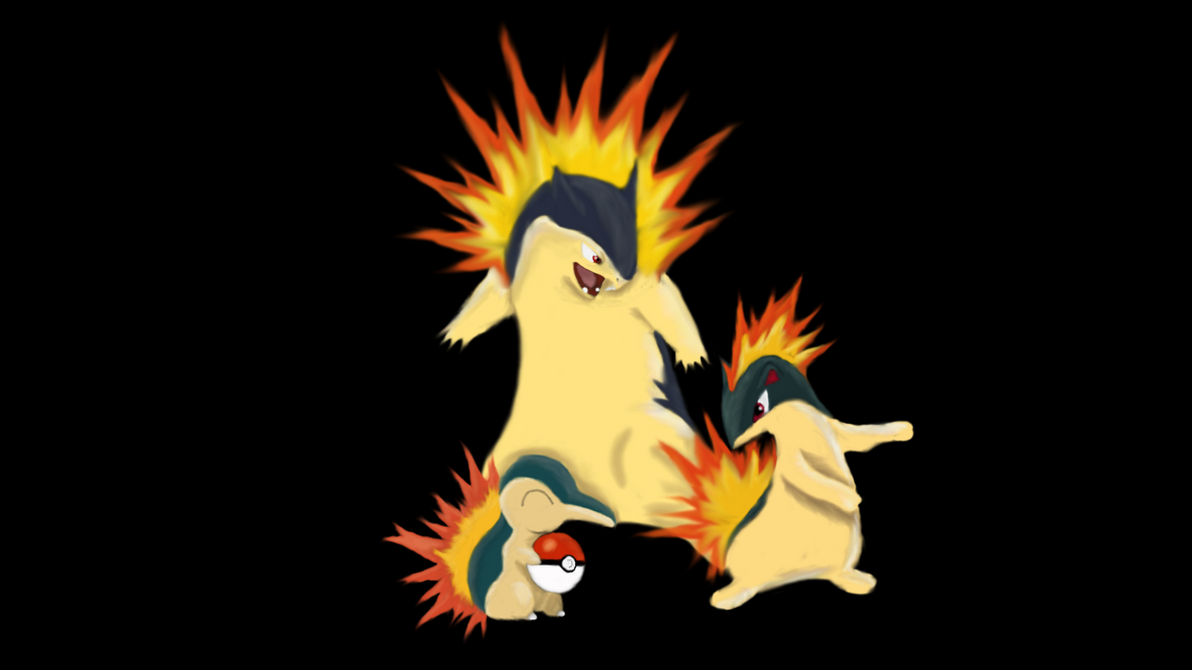 cyndaquil family painted by shad0wchas3r115 on deviantart