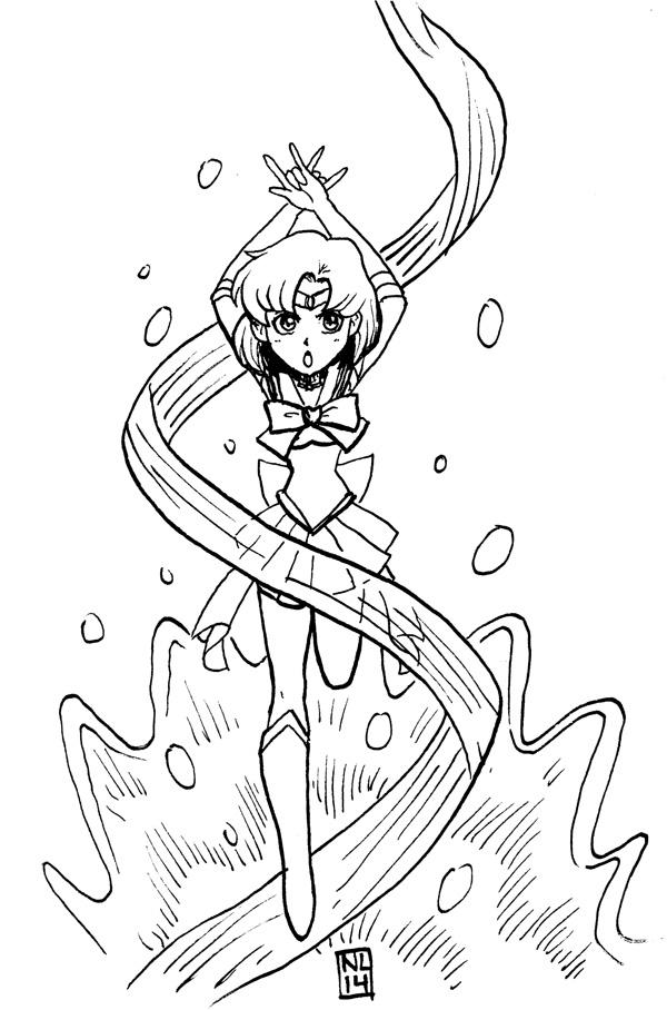 Inktober: Sailor Mercury by taneel