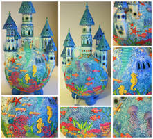 ocean castle lamp collage by bgerr