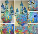 ocean castle lamp collage