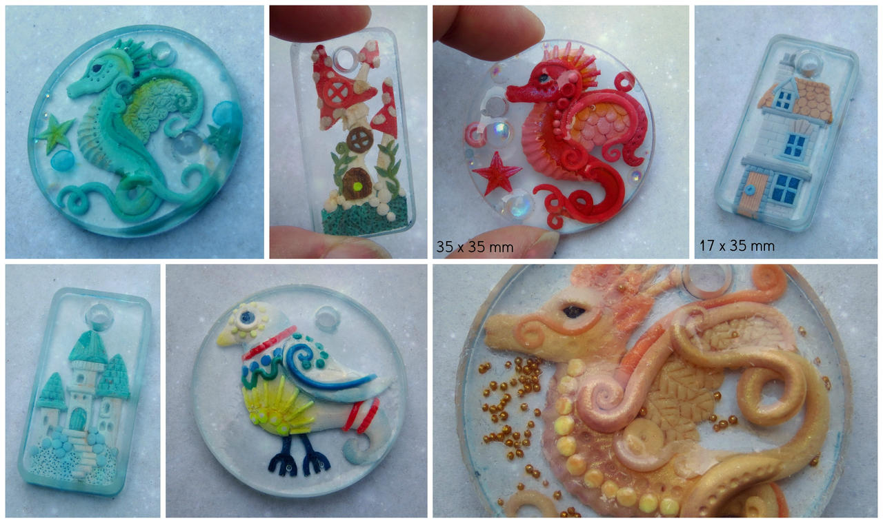 Clay And Resin Pendants by bgerr
