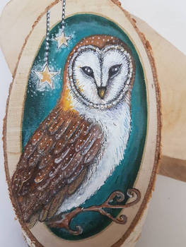 barn owl wood slice