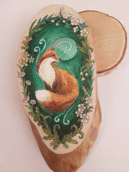wood slice fox painting by bgerr