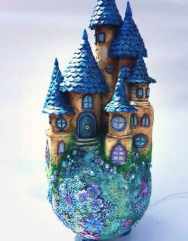 apoxie clay castle lamp