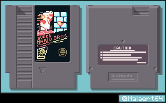 Tech Pixel Art - Super Mario Bros. NES Cartridge