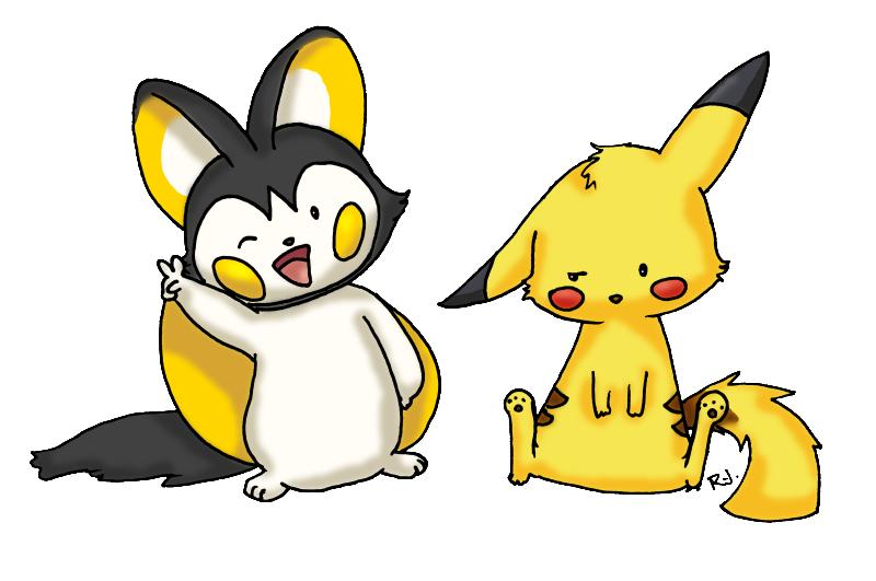 Emolga and Pikachu by rosierjay on DeviantArt