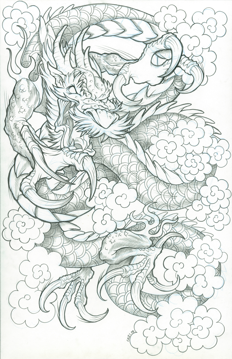 How To Draw A Japanese Dragon Step 2 Cloud Dragon By Cazitena Cloud Dragon  By Cazitena