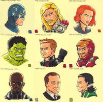 Sticky Note Sketches - The Avengers by WillRipamonti