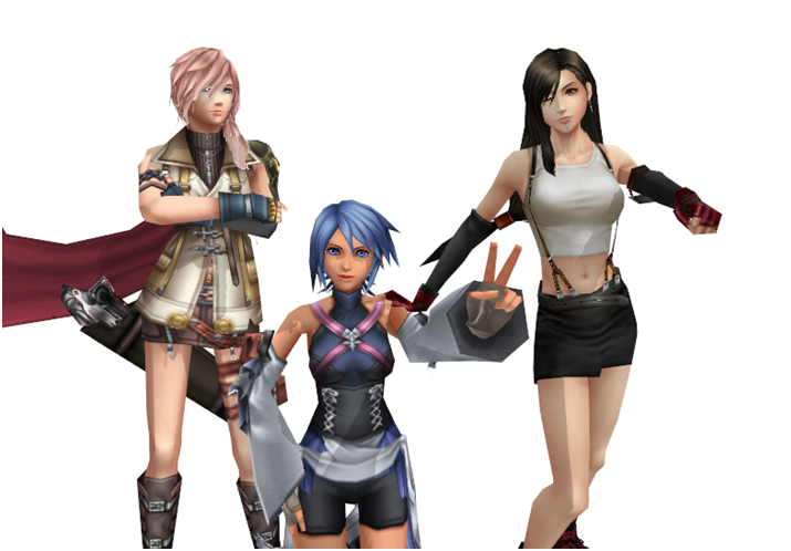 Aqua, Lightning and Tifa by yellalix