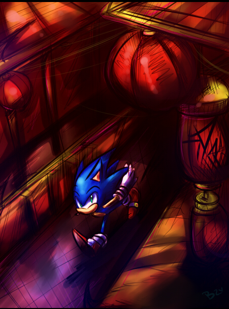 Sonic running though China by Zubwayori