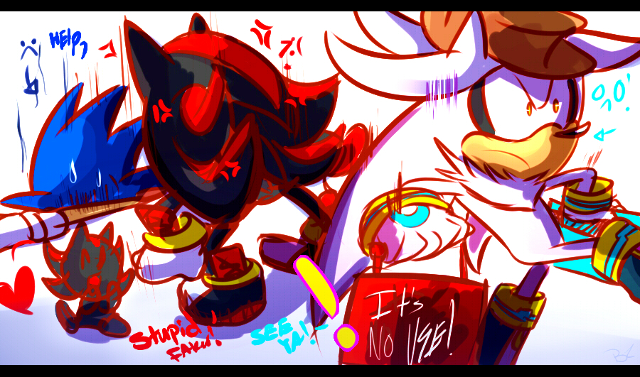 Shadow's throw of Sonic down! by Omiza