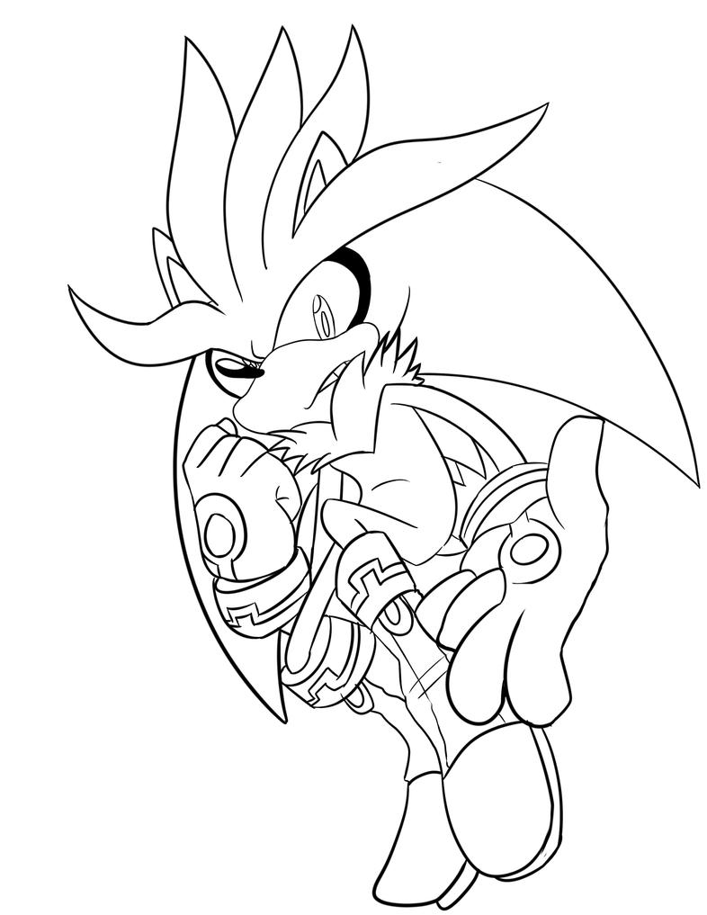 Line Drawing Hedgehog : Silver the hedgehog line art free color by omiza