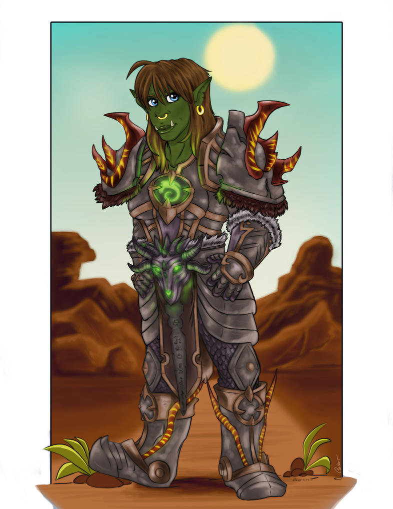 Female Orc Warrior-Commission from 2016 by StarNob